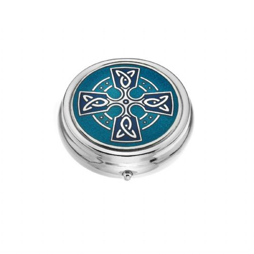Large Pill Box Silver Plated Celtic Cross Head Blue Brand New & Boxed